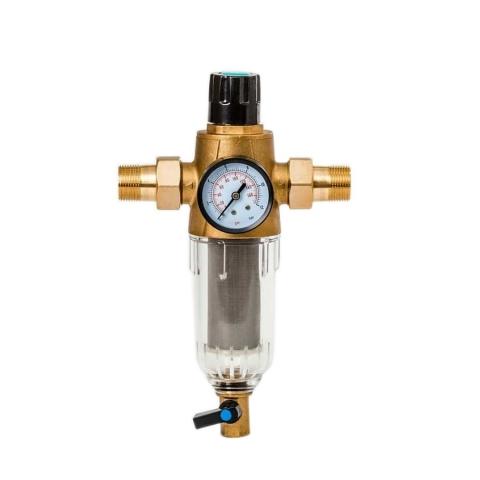 Магистральный сетчатый фильтр Гейзер Бастион 3/4 с манометром и промывкой (d65)