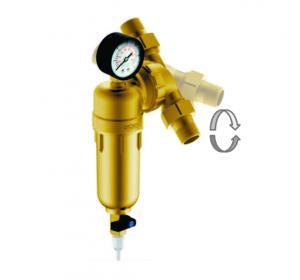 """Магистральный сетчатый фильтр Гейзер Бастион 3/4"""" с манометром и поворотным механизмом (d60) 7508095201"""